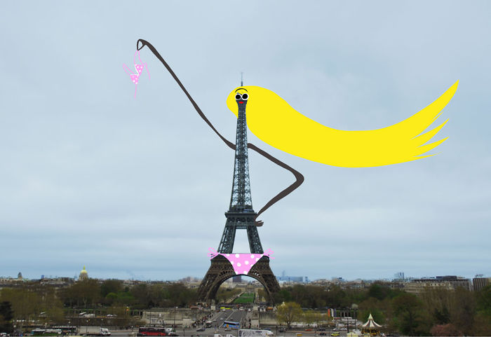 Arte en las calles de París - La torre Eiffel topless