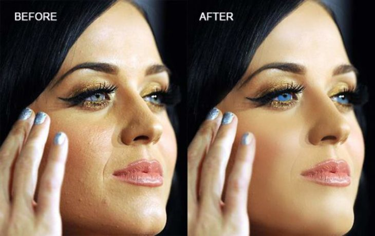 Celebridades usan photoshop - Katy Perry rostro