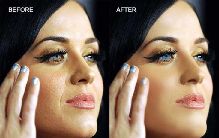 Celebridades usan photoshop - Katy Perry rostro