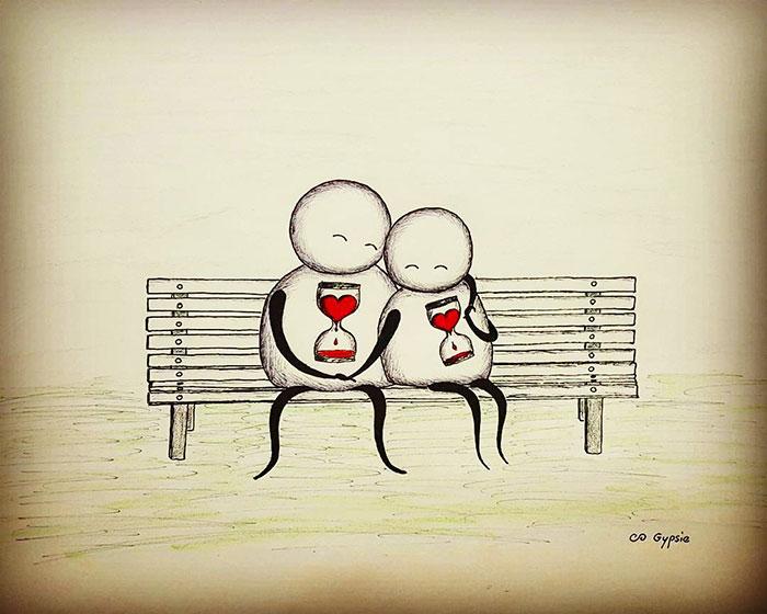 Ilustraciones Gypsie - dos enamorados con un reloj de arena en el corazon