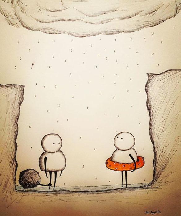 Ilustraciones Gypsie - esperando a que se inunde, uno con una piedra otro con un salvavidas