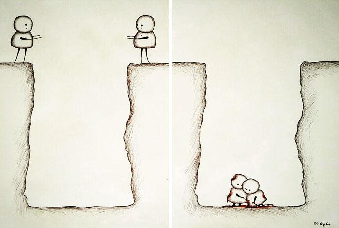 Ilustraciones Gypsie - dos personas caen al precipicio juntas