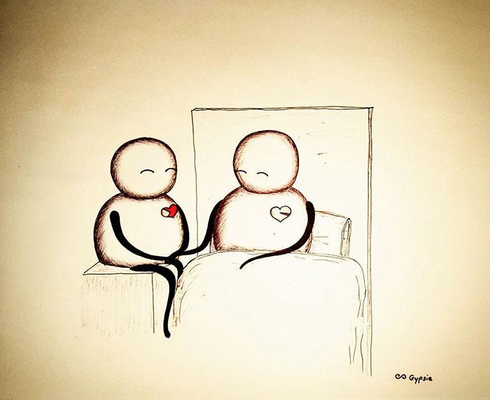Ilustraciones Gypsie - dos enamorados en el hospital