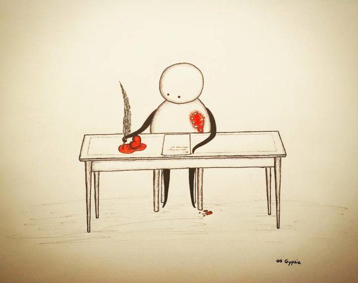 Ilustraciones Gypsie - escribiendo y la tinta es la sangre del corazon