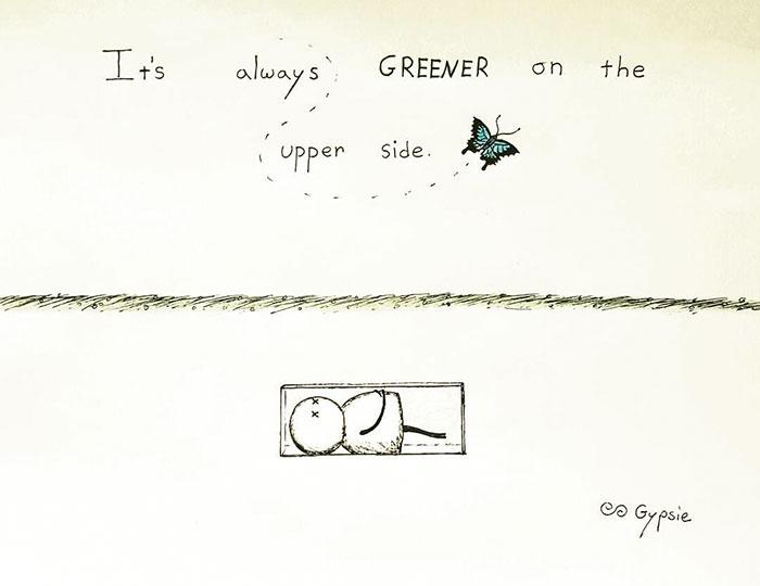 Ilustraciones Gypsie - persona enterrada y arriba hay vida
