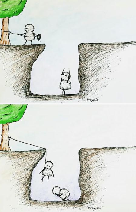 Ilustraciones Gypsie - persona en un hoyo y el otro se suicida