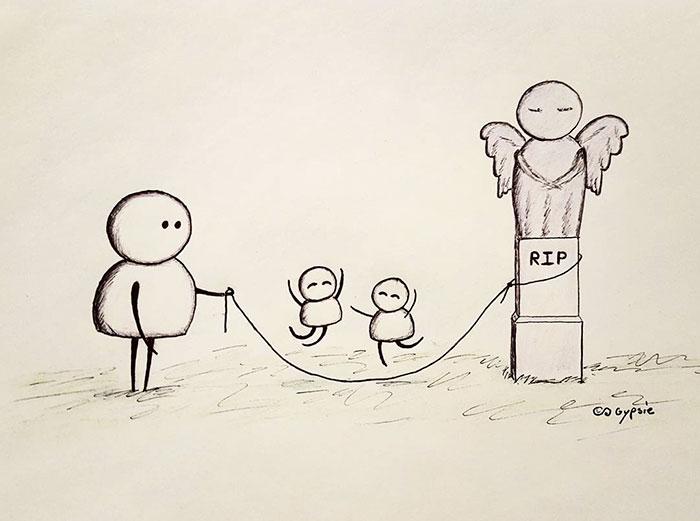 Ilustraciones Gypsie -jugando con dos niños en una tumba