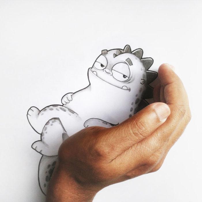 Animaciones Drogo recostado en la mano