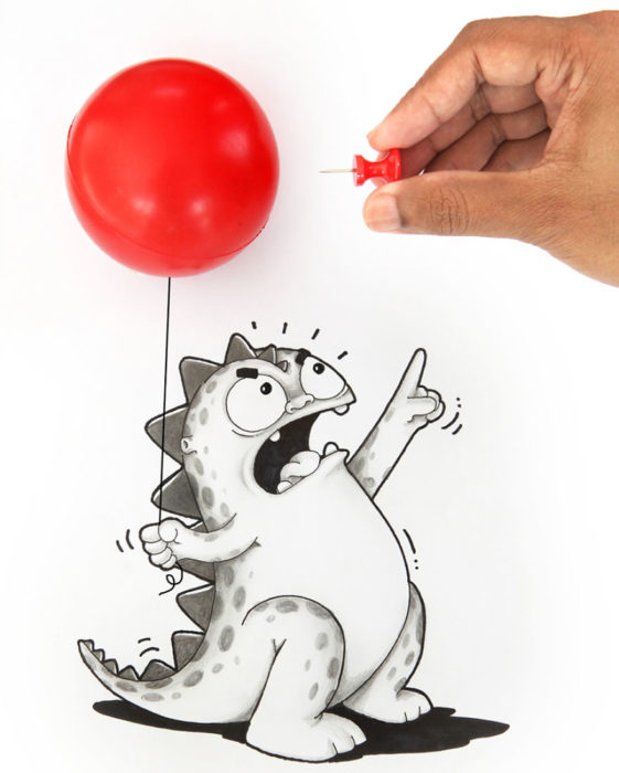Animaciones Drogo con un globo