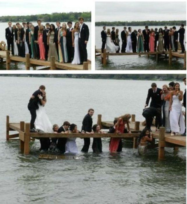 Foto de graduación se caen al agua