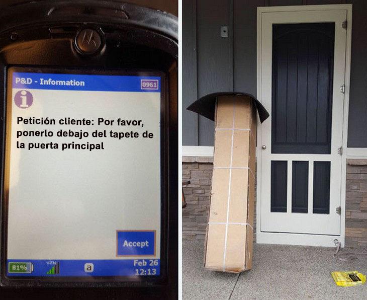 Entrega paquetería debajo del tapete de la puerta principal