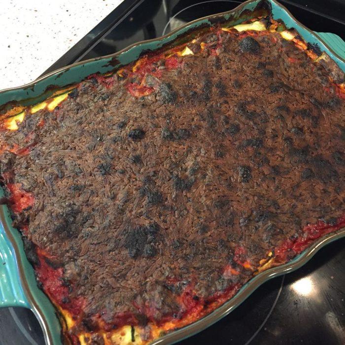 Fails en la cocina - lasagna quemada