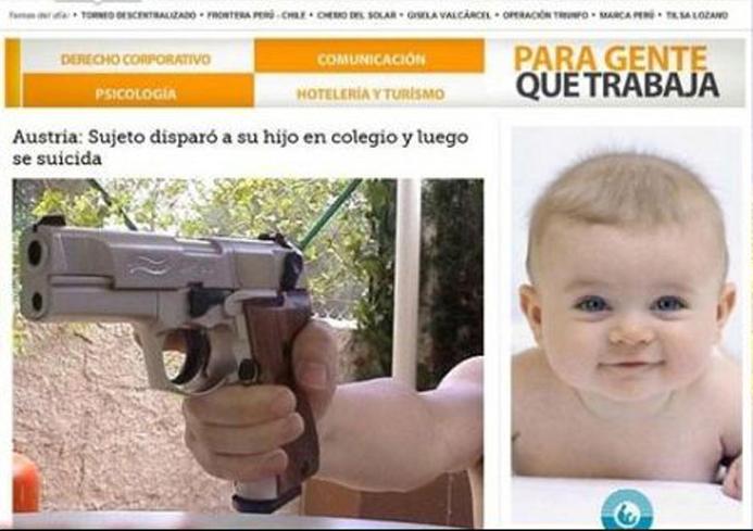 Ubicación de publicidad online de bebé al lado de una nota en la que un sujeto mató a su hijo