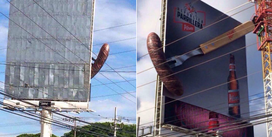 Publicidad sugerente de un lugar donde venden carne