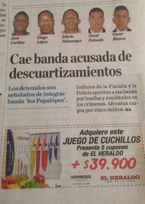 Fail publicidad de juego de cuchillos abajo de una nota de una banda que descuartizaba a sus víctimas