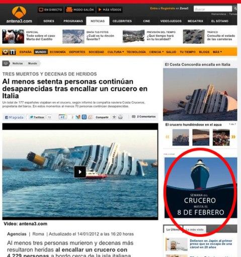Publicidad online promociona la semana del crucero, y al lado hay una nota de un crucero que encalló en Italia