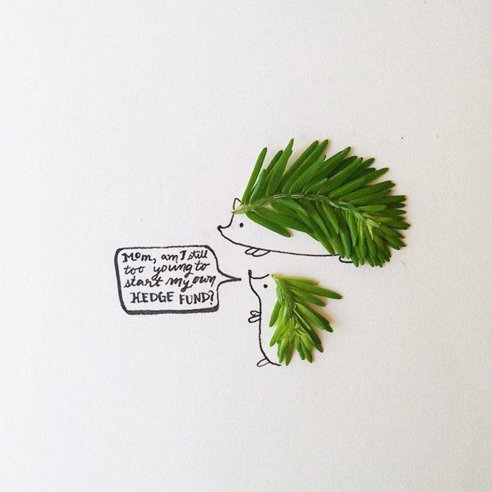 un par de puerco espines en unas hojas aromáticas