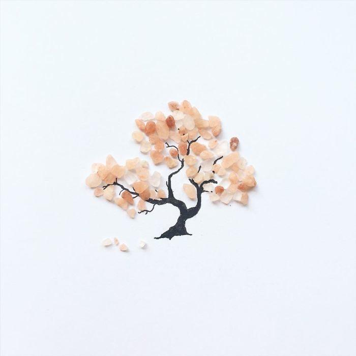 un árbol hecho con migas de almendra