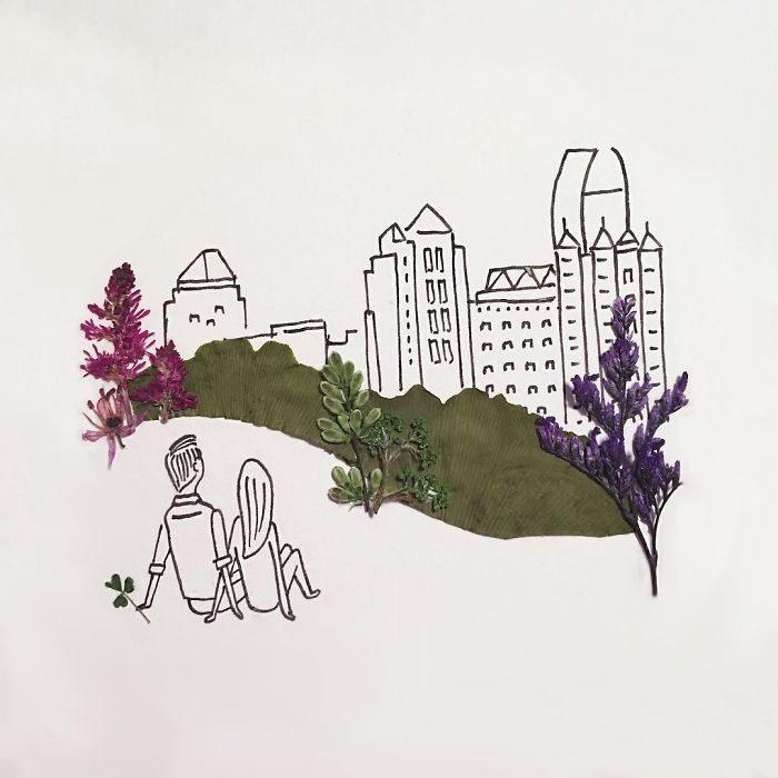 Mirando su ciudad desde la colina