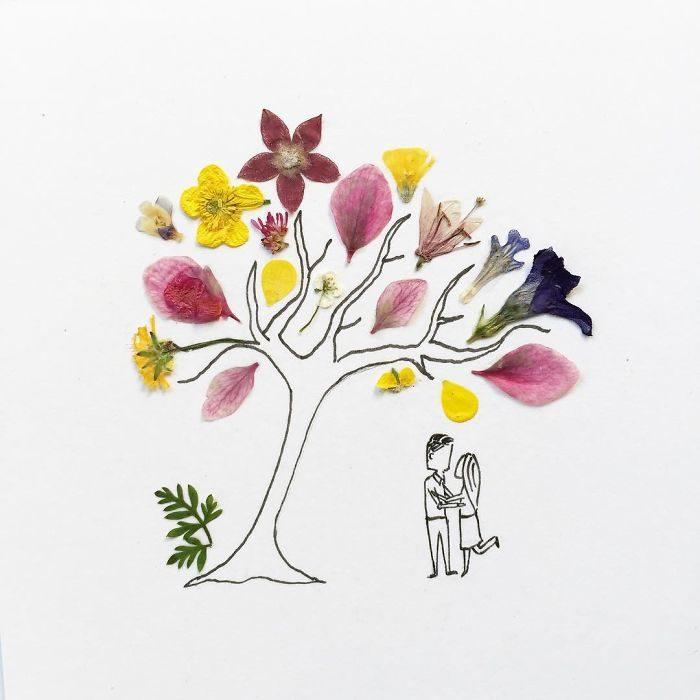 una pareja de enamorados bajo la sombra de un árbol