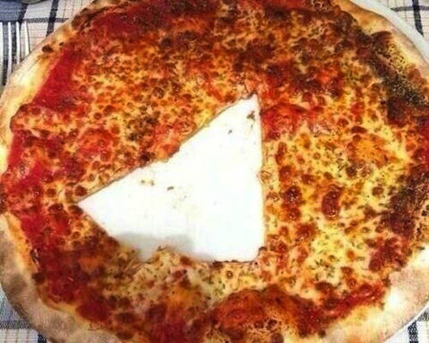 pizza mal cortada