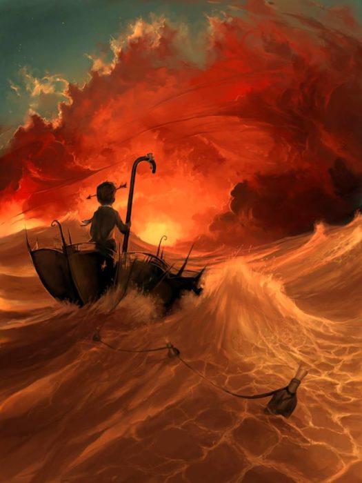 Ilustraciones Cyril Rolando - niño flotando en paraguas