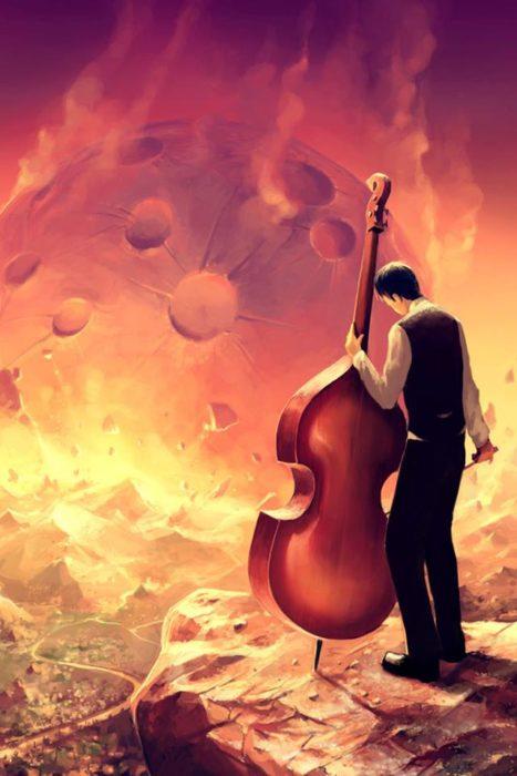 Ilustraciones Cyril Rolando - Hombre con un cello