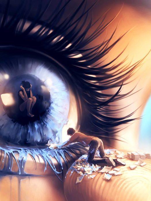 Ilustraciones Cyril Rolando - hombre limpiando las lágrimas