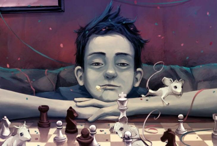 Ilustraciones Cyril Rolando - niño jugando ajedrez