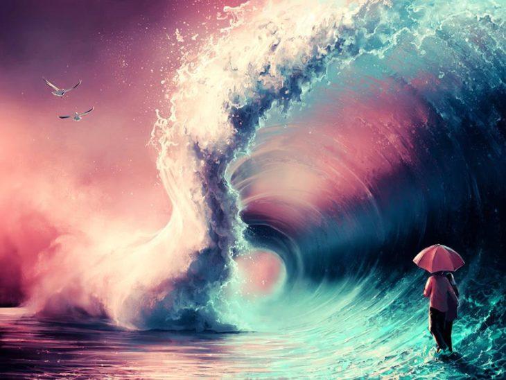 Ilustraciones Cyril Rolando - persona bajo las olas