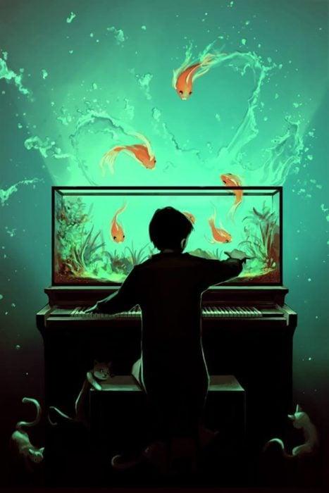 Ilustraciones Cyril Rolando - niño pecera