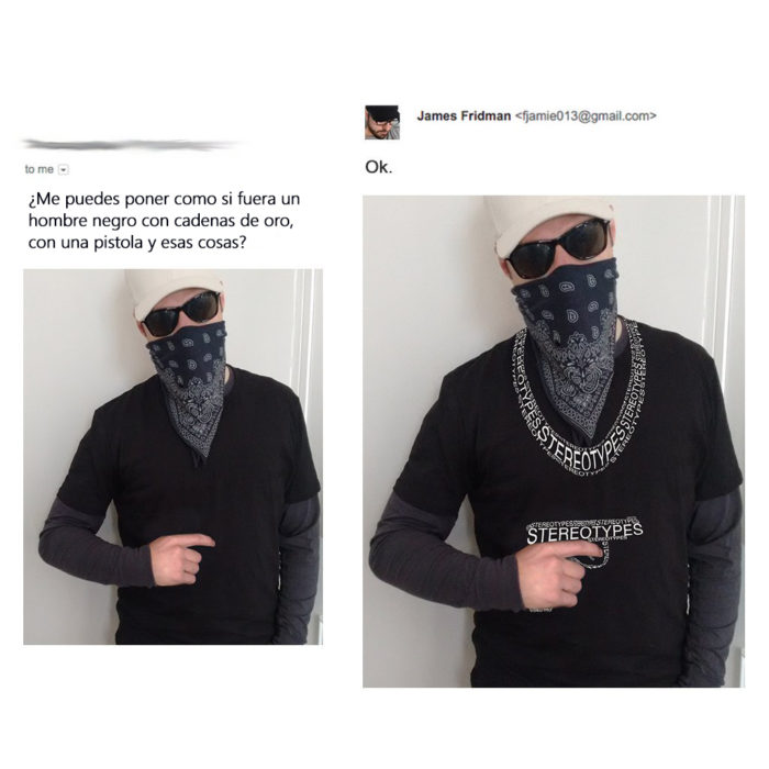 James Fridman- foto de hombre le pide que lo haga lucir como negro