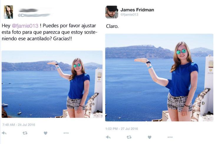 James Fridman- le pide sostener el acantilado