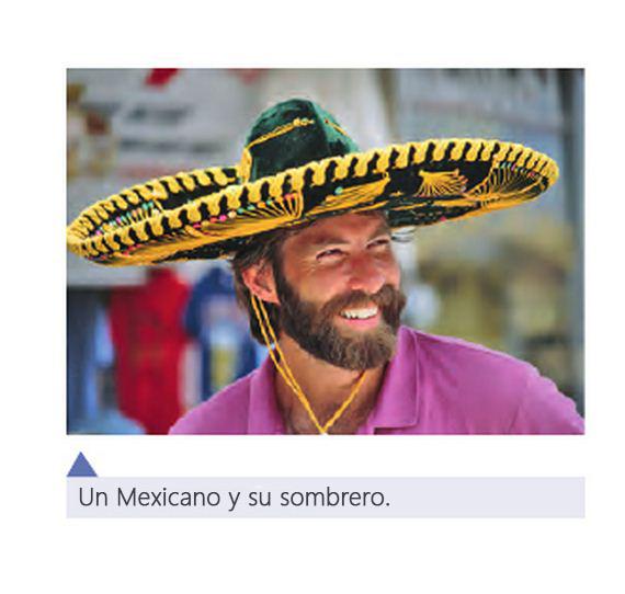 Cosas graciosas en libros de texto - un mexicano muy agringado con sombrero