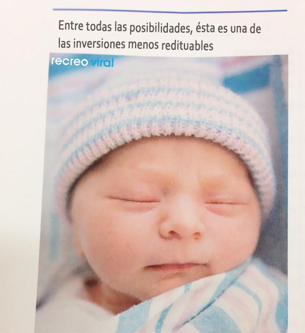 Cosas graciosas en libros de texto - foto de un bebé que dice que es una inversión no muy redituable