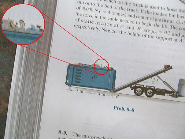 Cosas graciosas en libros de texto - basurero con una mano adentro