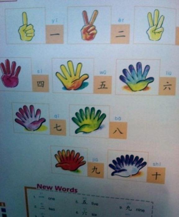 Cosas graciosas en libros de texto - libro enseña los numeros con manos que tienen hasta10 dedos