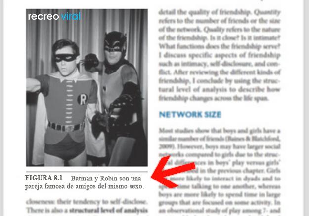 Cosas graciosas en libros de texto - batman y robin amigos del mismo sexo