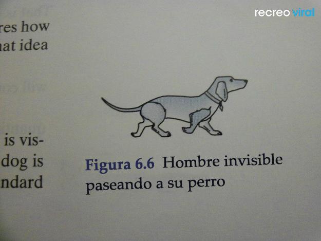 Cosas graciosas en libros de texto - perro junto a su dueño invisible