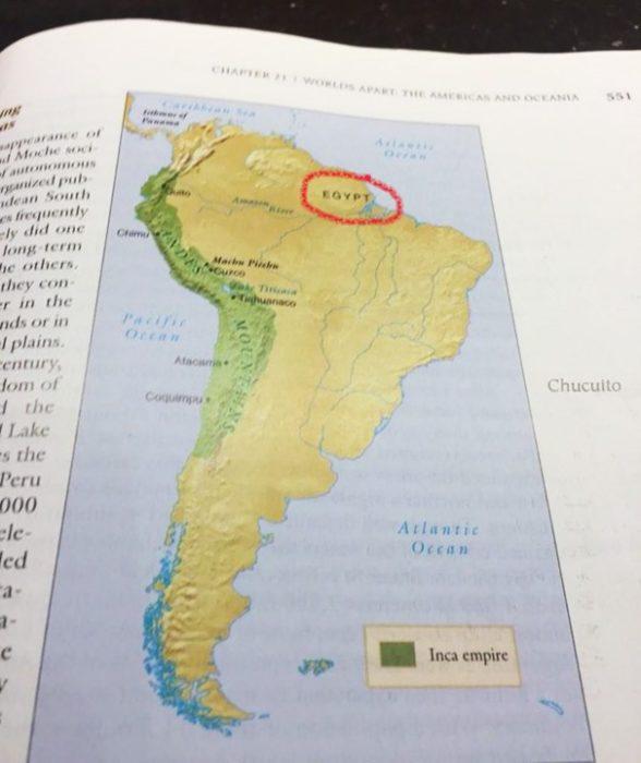 Cosas graciosas en libros de texto - egipto en america