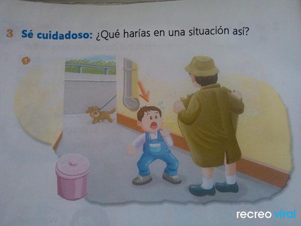 Cosas graciosas en libros de texto - dibujo de un hombre que se está descrubriendo frente a un niño