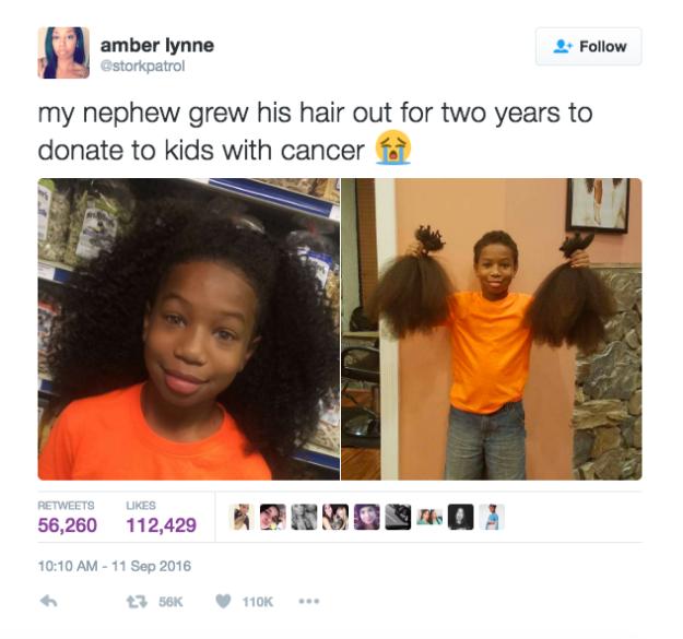 Niño dona su cabello - tuit de su tía