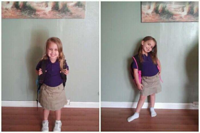 Niña feliz antes de la escuela, feliz después