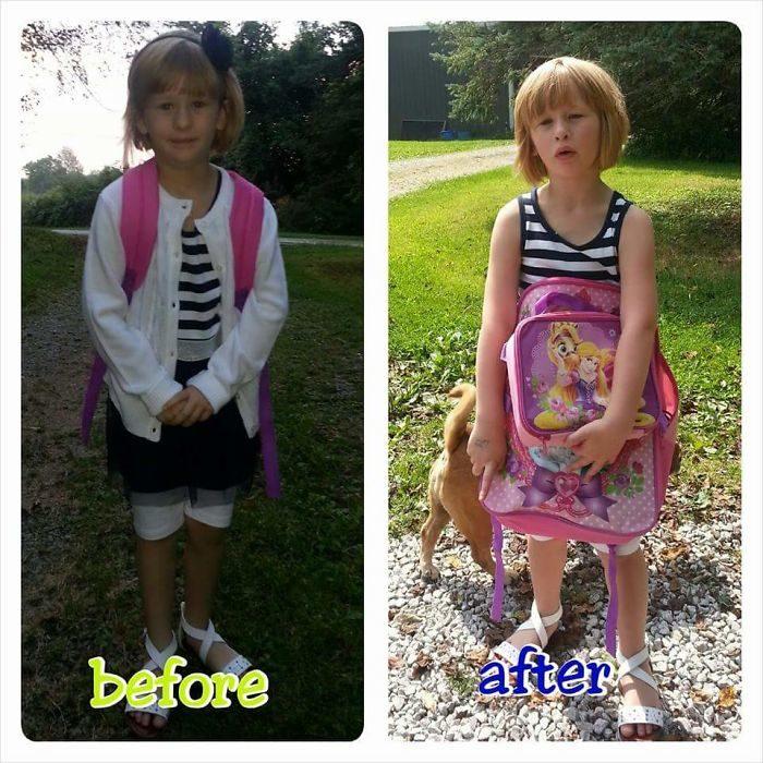 Niña antes de la escuela feliz y arreglada, después cansada