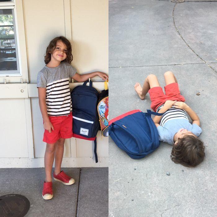 Niño antes de la escuela feliz, después triado en el piso