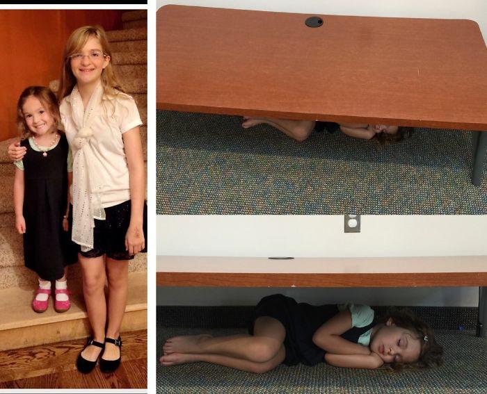 Niña dormida abajo de una mesa ensu primer dia de clases