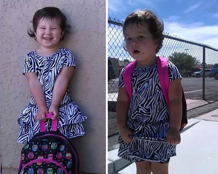 Niña con vestido estampado feliz en su primer dia de clase, después luce cansada