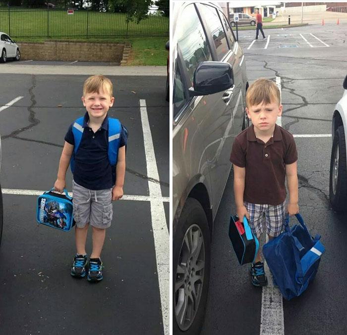 Niña feliz con su mochilita, después de clases con cara enojada