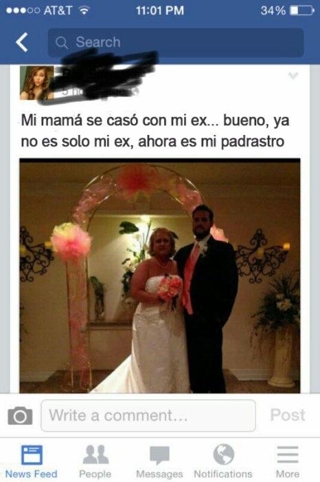 Facebook: Mi mamá se casó con mi ex, ahora es mi padrastro