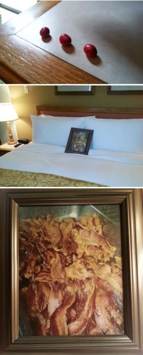 Peticiones absurdas hoteles - 3 m&m's y foto de tocino